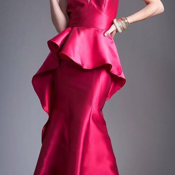 Red High Neck with Keyhole Peplum Mermaid Prom Gown Open Back