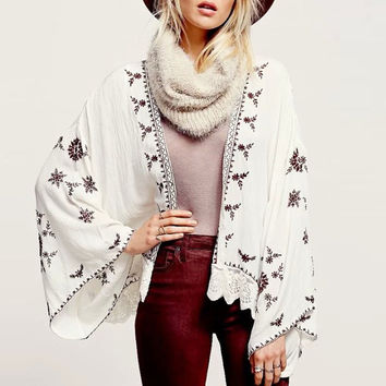 Embroidered Long Sleeve Kimono