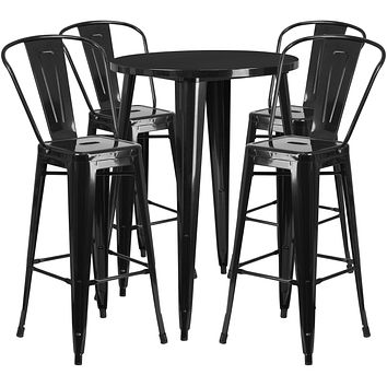 Indoor/Outdoor Chic Curved Back with Vertical Slat Pub Dining Set