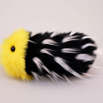 Stuffed Caterpillar Stuffed Animal Cute Plush Toy Kawaii Plushie Spikey Mikey the Yellow & Black Snuggle Worm Faux Fur Toy Small 5x14 Inches