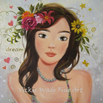 Dream Girl Art Print of original painting, brunette girl, pretty girl, flowers in hair, spring, summer, girls room, dream, Vickie Wade art
