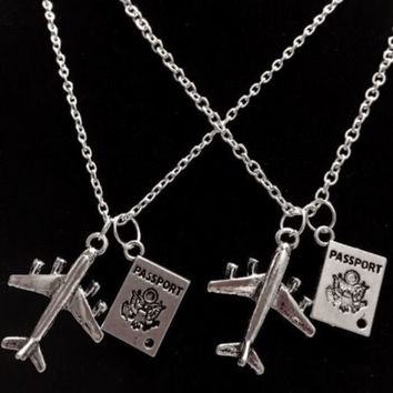 2 Necklaces Airplane Passport Long Distance Sister Best Friends Couples Set