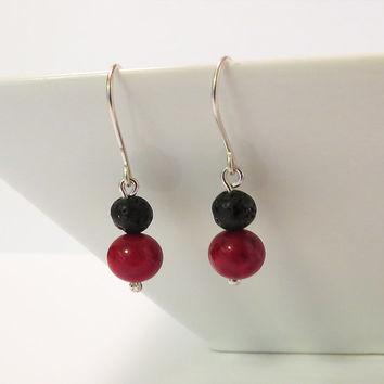 Red and black silver dangle - Lava and Red Riverstone Beads Earrings inspired by iceland  - Rock Jewelry - Everyday Use Jewelry