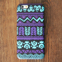 Turquoise And White Aztec Pattern iPhone 6 Case/Plus/5S/5C/5/4S Protective Case #704