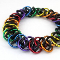 Stretchy chain mail bracelet in rainbow colors by TattooedAndChained