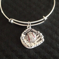Crystal Baseball Mitt Charm on a Silver Expandable Bangle Bracelet Sports Team Coach Gift Adjustable