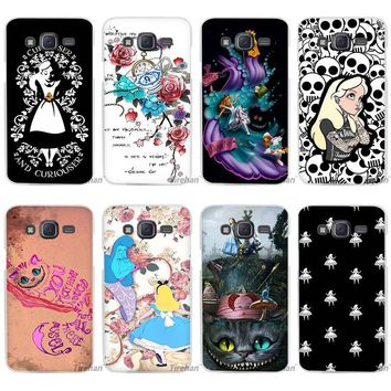Hot sale Alice in Wonderland punk Clear Case Cover Coque Shell for Samsung Galaxy J1 J2 J3 J5 J7 2016 2017 Emerge