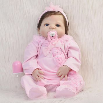 Handmade Fiber Hair Girl Doll Full Silicone Vinyl Reborn Dolls 23'' Babies Wear Pink Rompers Can Bathe Designed For Child Toys