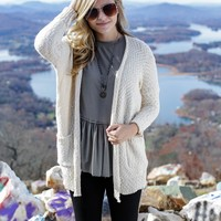 Heathered Knit Cardigan, Cream