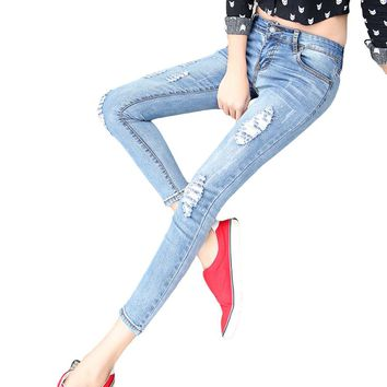 2016 New Skinny Women Ankle-length Denim Pants Hole Ripped Jeans Casual Slim Fit Mid-Waist Pencil Pants Elastic Femme Trousers