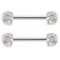 Jstyle 316L Stainless Steel Body Jewelry 14G Nipple Rings Piercing Jewelry Barbell Crystal Ball Disco Bar Pairs