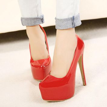 A| Chicloth Women Closed Toe Artificial PU Cone Heel Shoes