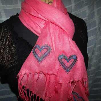 FALL SALE!! GORGEOUS Salmon Pashmina (Cashmere/Silk) with Embroidered Lace Hearts