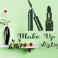 Make Up Artist Wall Decal, Custom Text Salon Decal, Mascara and Lipstik Decor, Beauty Salon Decoration, Make Up Wall Decor Art,  nm141