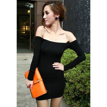 Black Slash Neck Long Sleeve Dress