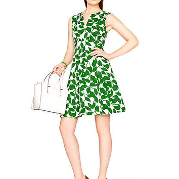 Kate Spade Garden Leaves Pique A-Line Dress Lucky Green