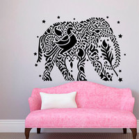 Decorated Elephant Wall Decals Indian Elephants Stars Vinyl Decal Sticker Animals Interior Design Art Mural Living Room Bedroom Decor MR386
