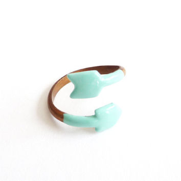 Arrow Ring in Mint. Adjustable Ring. Ribbon. Stackable Ring. Simple. Everyday Jewelry. Color Block.