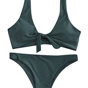 SweatyRocks Women's Sexy Bikini Swimsuit Tie Knot Front Swimwear Set