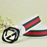 Cheap GUCCI Woman Men Fashion Smooth Buckle Belt Leather Belt for sale q_2291738334_045