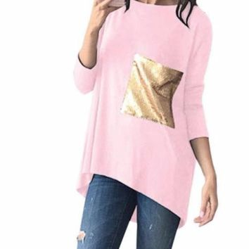 Women's Pink 3/4 Sleeve Solid T-Shirt Top with Large Sequin Pocket