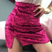 Winter Velvet Sexy Split Dress Skirt [93770481679]