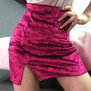 Autumn Winter Women Simple Fashion Solid Color Velvet Split Package Hip Short Skirt