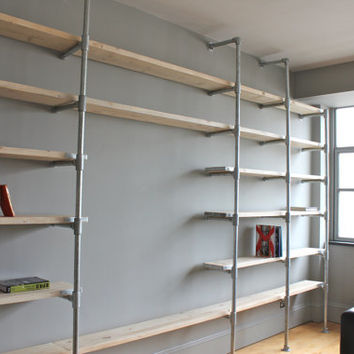 Scaffolding Boards and Galvanised Steel Pipe Wall Mounted and Floor Standing Industrial Shelving/Bookcase - Bespoke Urban FurnitureDesign