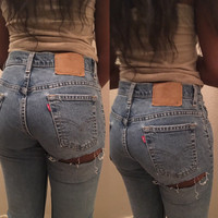 Sale All Sizes Levis brand blue jeans high waist distressed rip denim WOMEN size butt slit rip jeans waist 26 27 28 29 30 31 32 33 34 35
