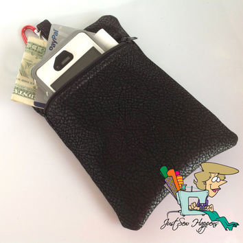 Vegan Leather Belt Loop Pouch Phone Case  with by JustSewHappens