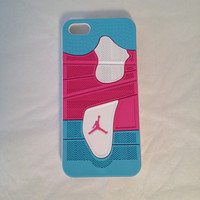 Air Jordan iPhone case 4 pink and blue iPhone 5 5s