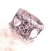 Heart Ring Lace Heart Organic Ring I Love You Ring In Lace Filigree Valentine Fine Silver Heart Ring
