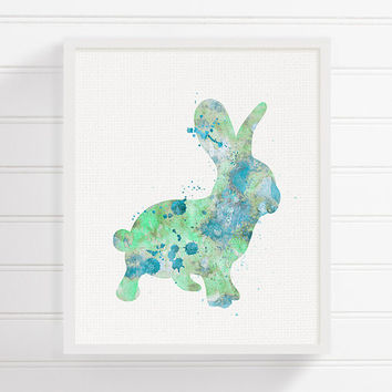 Mint Bunny, Watercolor Bunny Painting, Bunny Art Print, Rabbit Art Print, Baby Boy Nursery, Kids Room Decor, Nursery Art, Boys Room Decor