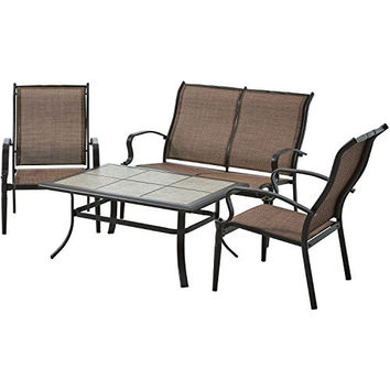 Modern and Contemporary Backyard and Outdoor Patio Bistro Wicker Set Collection (All Sizes) with Bonus Basically Simple Storage Bin (4-pc Set, Mainstays Wesley Creek (Brown))