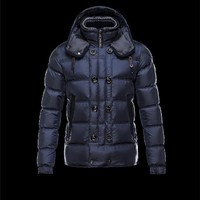 Moncler ALFRED Detachable Hood Knit Collar Blue Jackets Nylon/Polyamid Mens 41380992NO