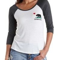 California Graphic Baseball Tee by Charlotte Russe - Charcoal