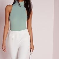 Missguided - Roll Neck Ribbed Bodysuit Mint