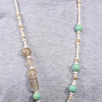 Delray Wood & Etched Glass Bead Necklace