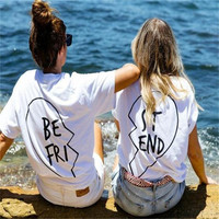 Best Friends T Shirt Print Letter BE FRI ST END Women T-shirt Fashion Shirt Sleeve Women Clothing White Black