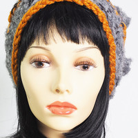 OOAK knit hat / gray and gold crochet hat / grey and orange knit hat / fuzzy knit hat / butterscotch hat / woman winter hat  / teen girl hat