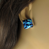 Square Stud Blue Dichroic Earrings, Post Fused Glass Jewelry