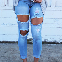 Light Wash Ultra Distressed Denim