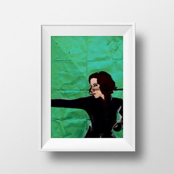 Black Widow Avengers Poster Illustration Natasha Romanoff Marvel Comics Giclee Print on Cotton Canvas Paper Canvas Captain America Wall Art