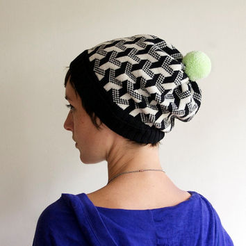 Geometric Knit Hat, Wool Beanie, Black & White with Mint Pom Pom