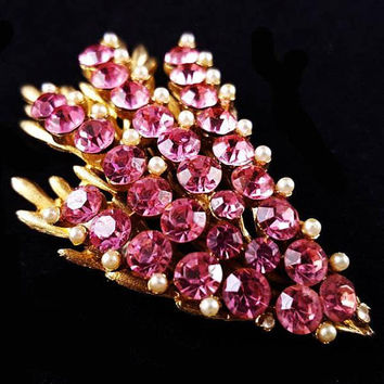 "BSK Pink Rhinestone Brooch Signed Tiny Pearl Beads Flower Swag Design Gold Metal 2.5"" Vintage"
