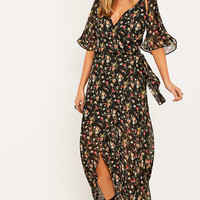 Urban Renewal Vintage Remnants Floral Maxi Wrap Dress - Urban Outfitters