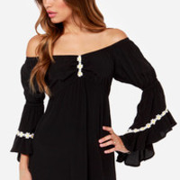 Lucy Love Wild Child Black Off-the-Shoulder Dress
