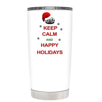 TREK Keep Calm and Happy Holidays on White 20 oz Tumbler Cup