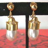Faux Pearl Drop Earrings Bridal Wedding Art Deco Feminine Fashion Jewelry