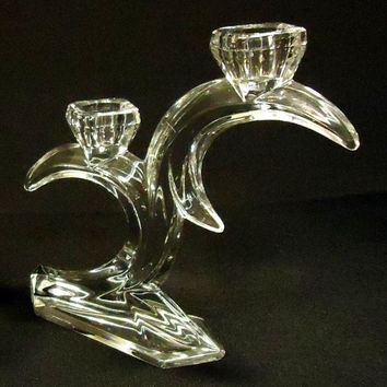 Designer Taper Candle Holder 8in x 7in x 2in 13-115ty Vintage Crystal  -- Used